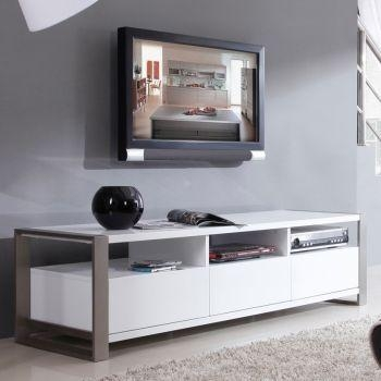 "B Modern Bm 110 Wht Stylist Series 63"" Modern Tv Stand In High Intended For Most Popular White Contemporary Tv Stands (Image 2 of 20)"