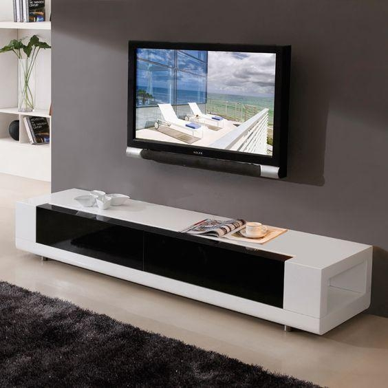 "B Modern Editor 79"" Contemporary Tv Stand In High Gloss White With Newest White And Black Tv Stands (View 3 of 20)"