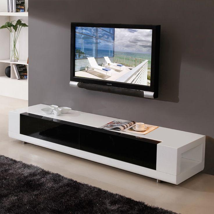 "B Modern Editor 79"" Contemporary Tv Stand In High Gloss White With Regard To Most Popular Modern White Lacquer Tv Stands (Image 2 of 20)"