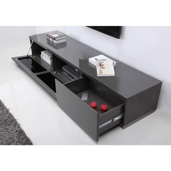 B Modern Producer Grey/ Black/ Steel Modern Tv Stand With Ir Glass Pertaining To Most Recently Released B Modern Tv Stands (View 3 of 20)