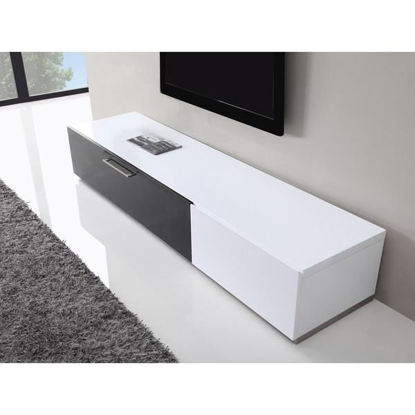 B Modern Producer White/ Black Modern Tv Stand With Ir Glass Within Latest Modern Glass Tv Stands (Image 2 of 20)