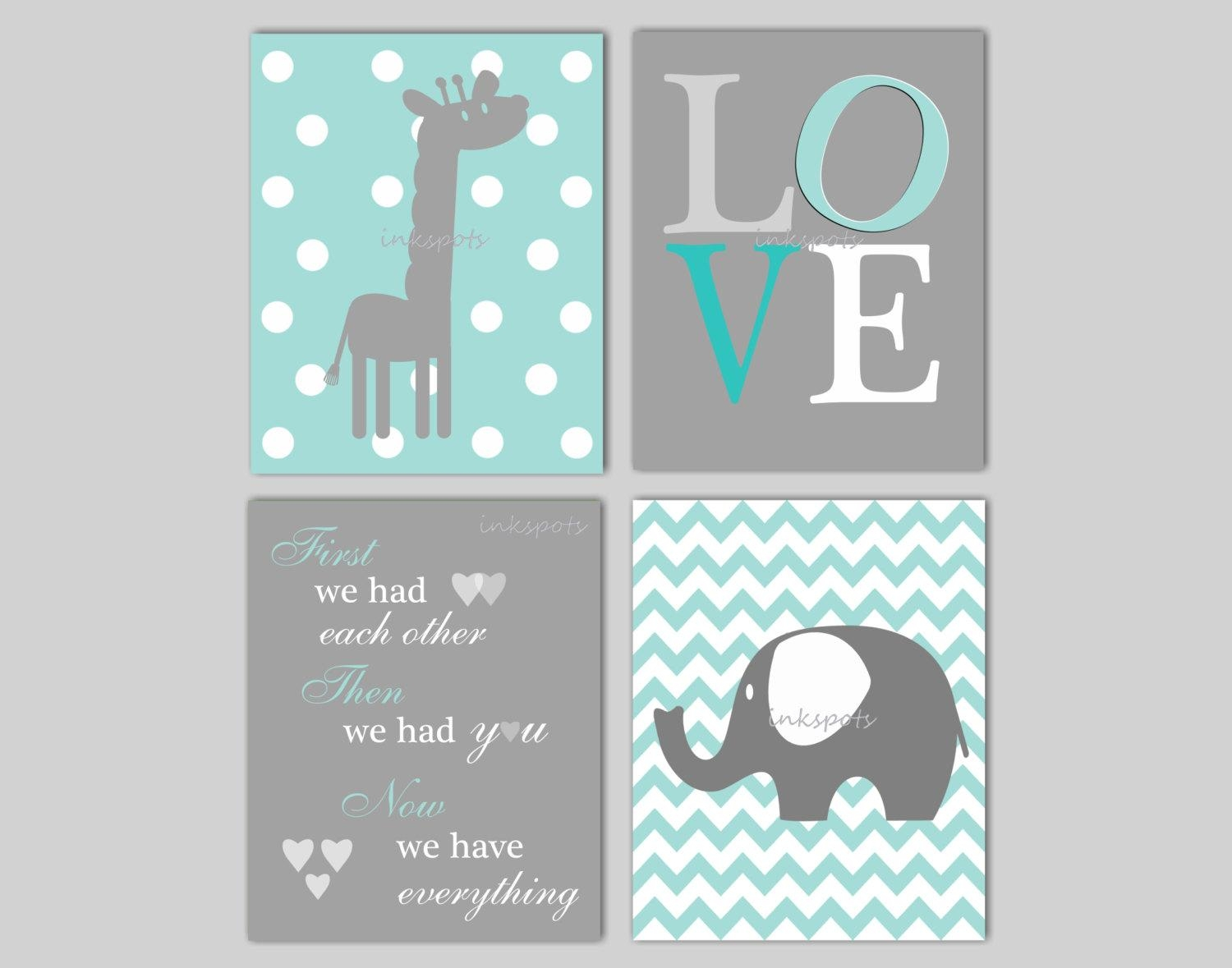Baby Boy Nursery Art Chevron Elephant Nursery Decor Giraffe Pertaining To Elephant Wall Art For Nursery (View 1 of 20)