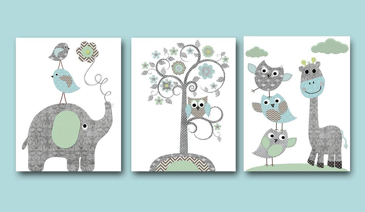 Baby Boy Nursery Art Print Nursery Wall Art Kids Wall Decor Intended For Elephant Wall Art For Nursery (View 7 of 20)