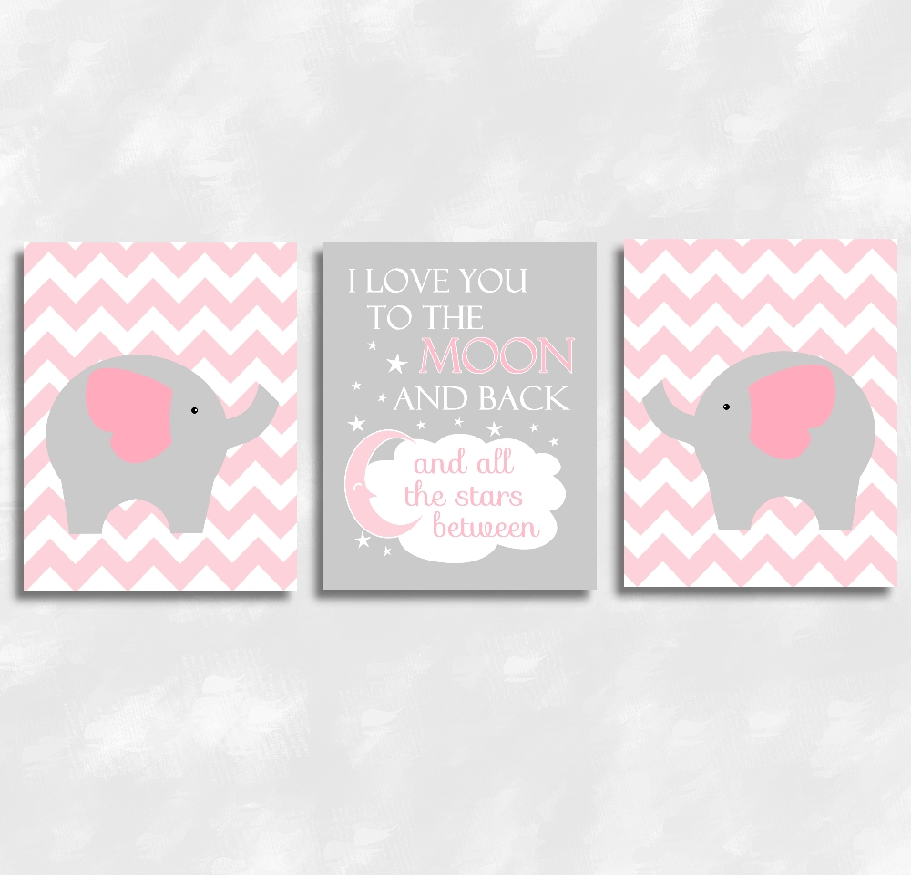 Baby Girls Nursery Canvas Wall Art Pink Gray Grey I Love You To Inside Elephant Wall Art For Nursery (Image 5 of 20)