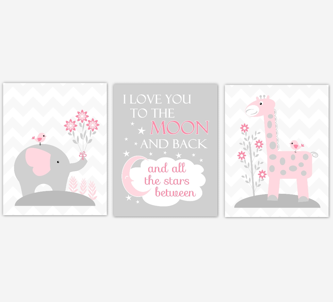 Baby Girls Nursery Canvas Wall Art Pink Gray Grey I Love You To Within Love You To The Moon And Back Wall Art (View 4 of 20)