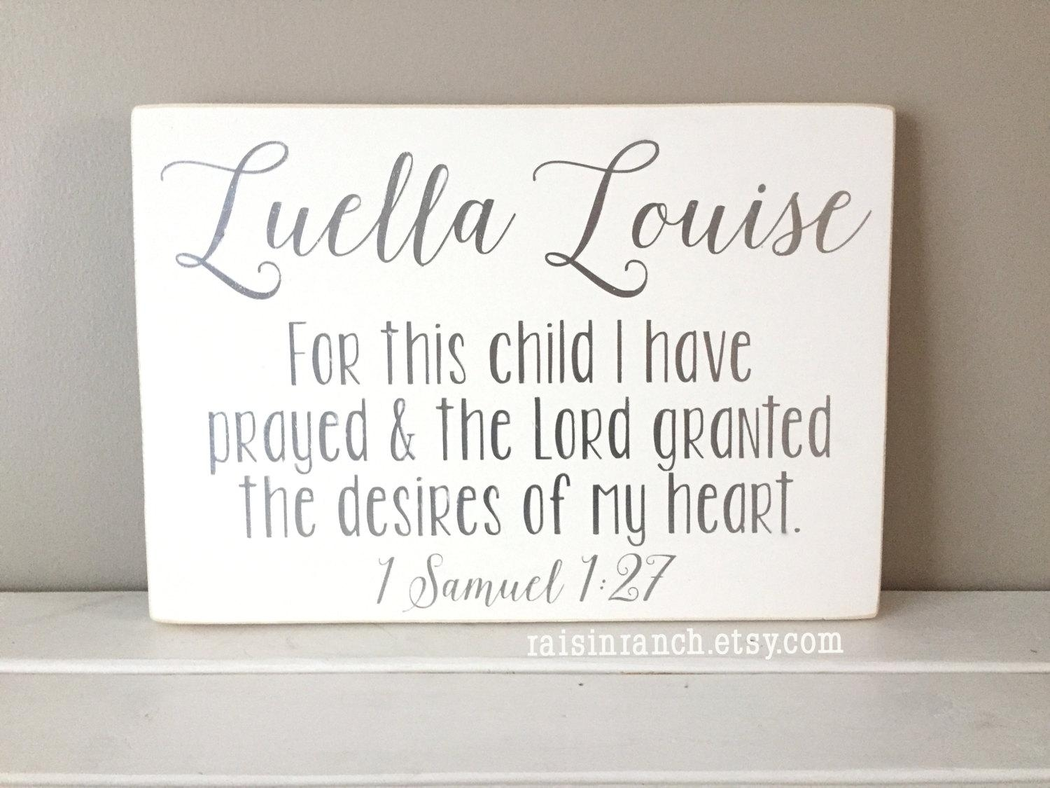 Baby Name Sign With Verse For This Child I Have Prayed And In For This Child I Prayed Wall Art (Image 5 of 20)