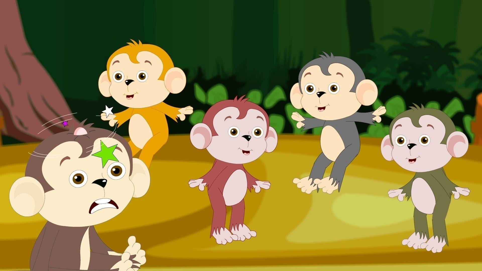 Baby Nursery Rhymes – Five Little Monkeys Jumping On The Bed Pertaining To No More Monkeys Jumping On The Bed Wall Art (Image 2 of 20)