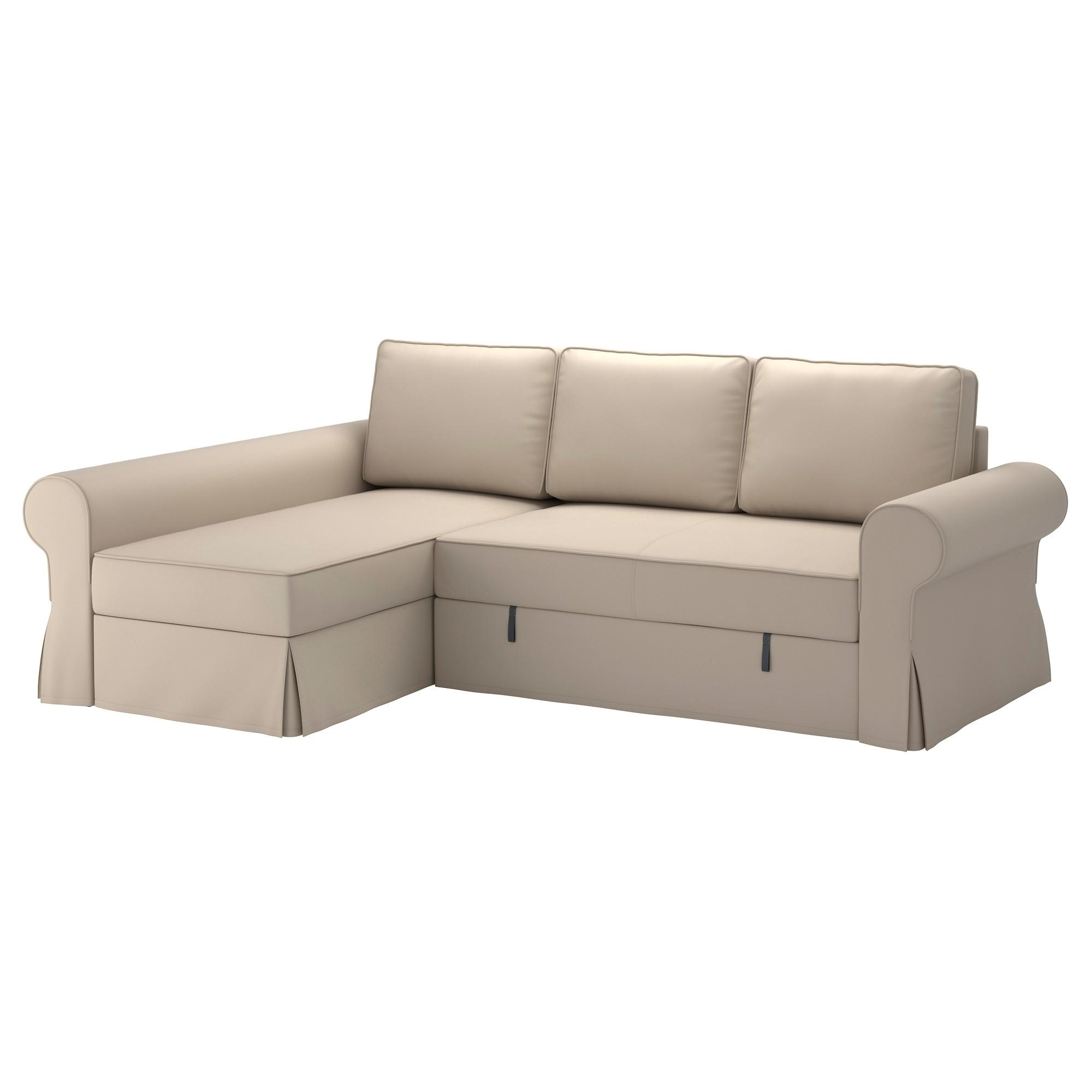 Backabro Sofa Bed With Chaise Longue Ramna Beige – Ikea For Ikea Chaise Lounge Sofa (Image 1 of 20)