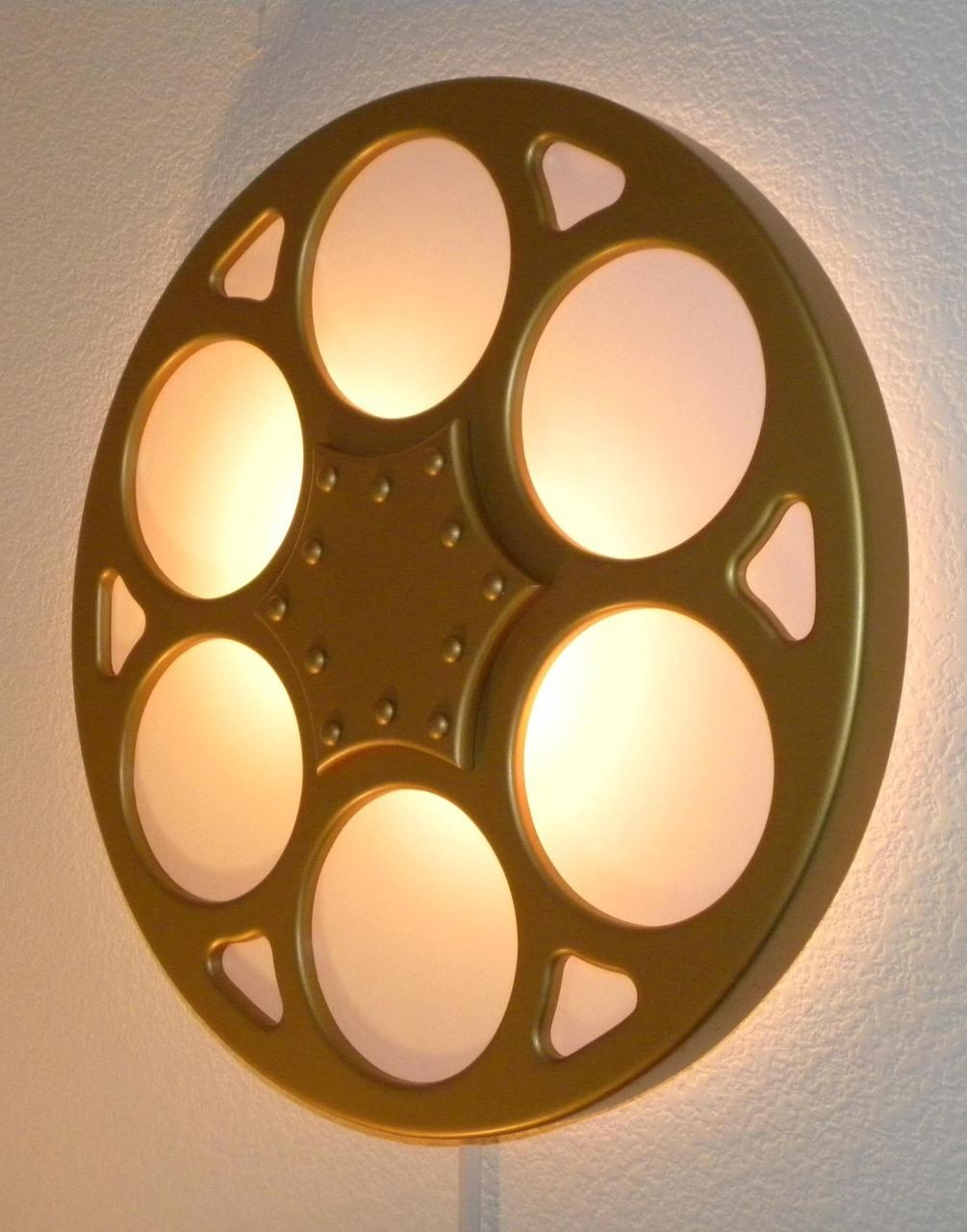 Backlit Film Reel Wall Sconce Home Theater Mart Wall Sconces Regarding Movie Reel Wall Art (Image 5 of 20)