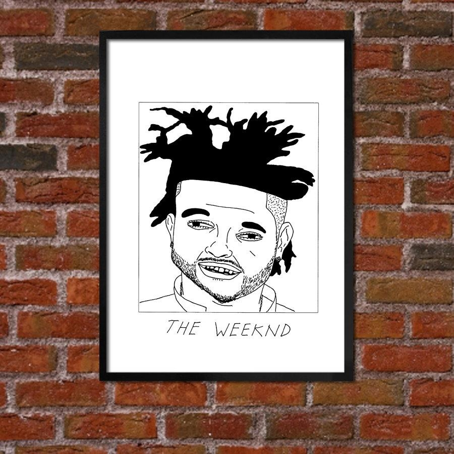 Badly Drawn The Weeknd Hip Hop Poster Buy 4 Get A 5Th Pertaining To The Weeknd Wall Art (Image 3 of 20)