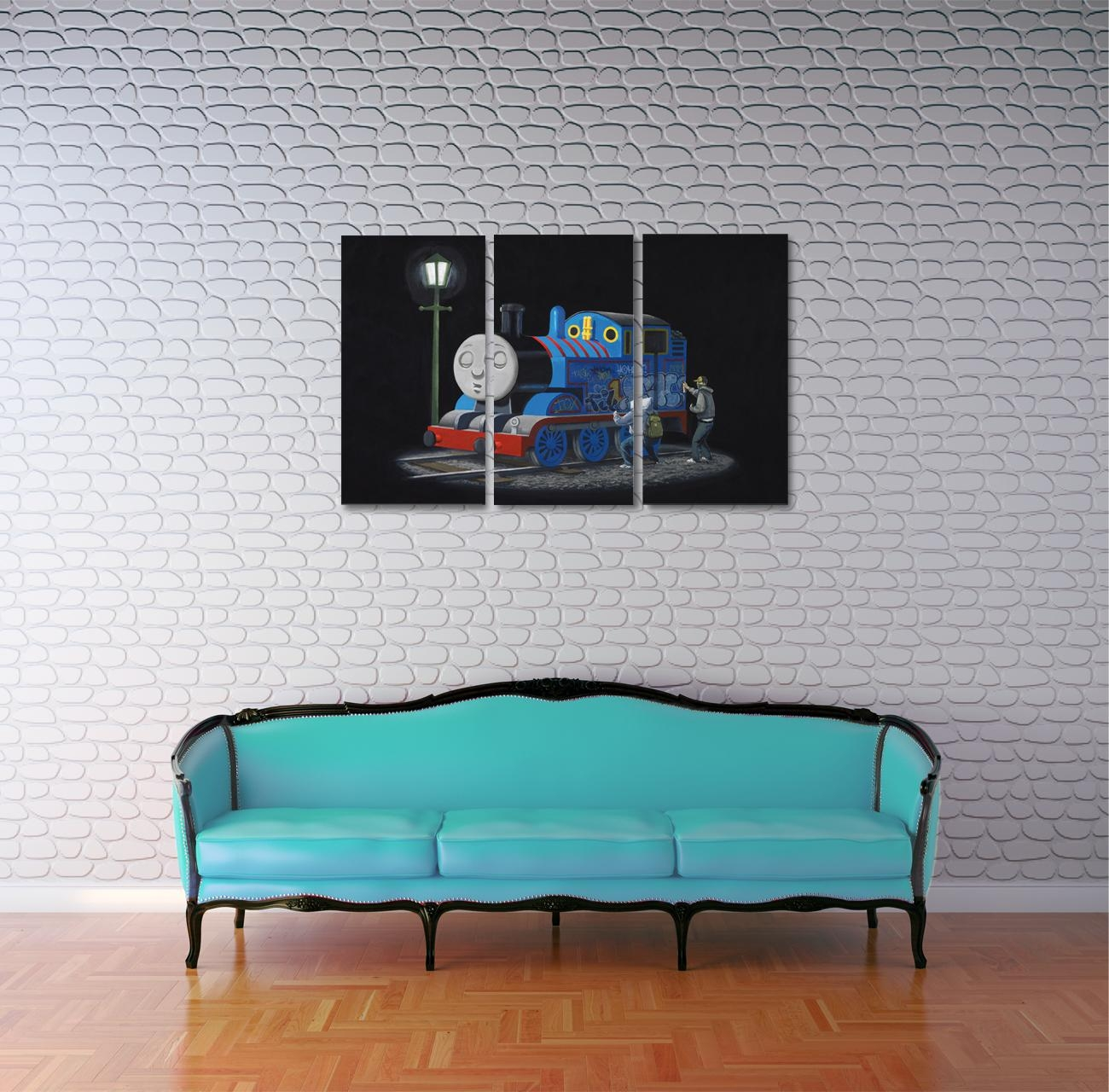 Banksy Sleeping Thomas The Tank Engine Triptych Canvas Wall Art Within Thomas The Tank Wall Art (Image 4 of 20)