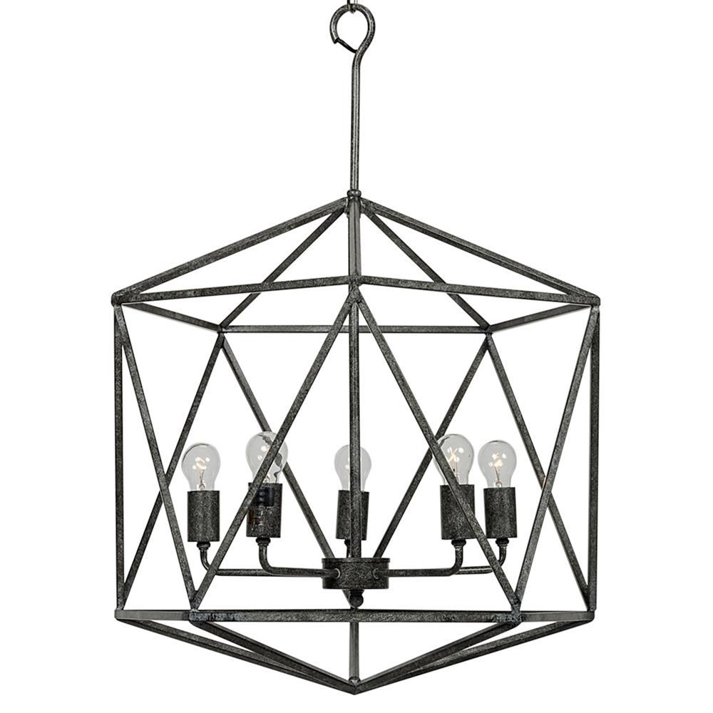 Barkley Industrial Loft Geometric Metal Chandelier | Kathy Kuo Home With Regard To Metal Chandelier Wall Art (Image 5 of 20)