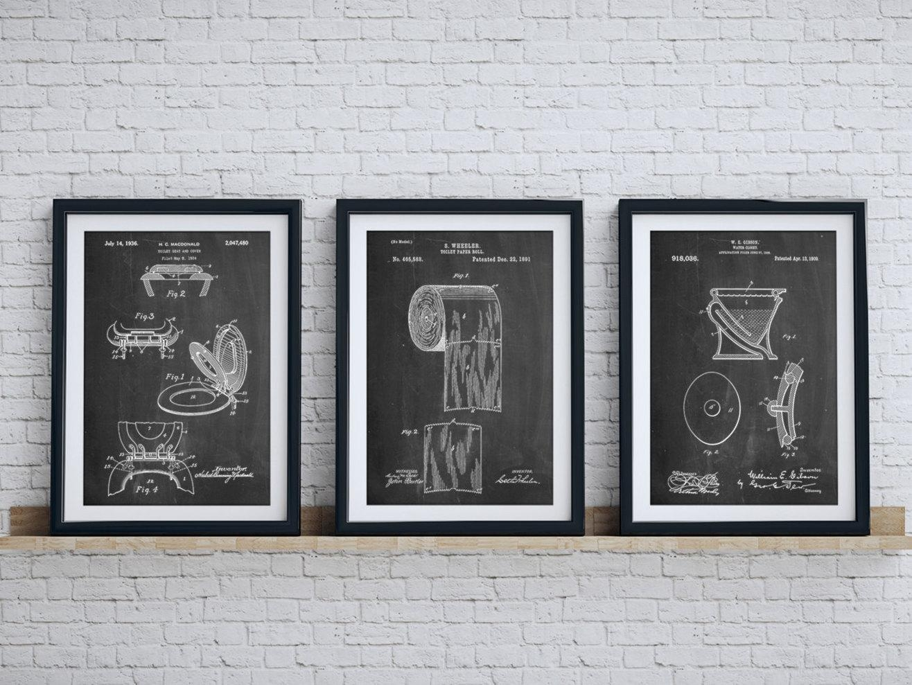 Bathroom Art Patent Posters Group Of 3 Bathroom Wall Decor Regarding Black And White Bathroom Wall