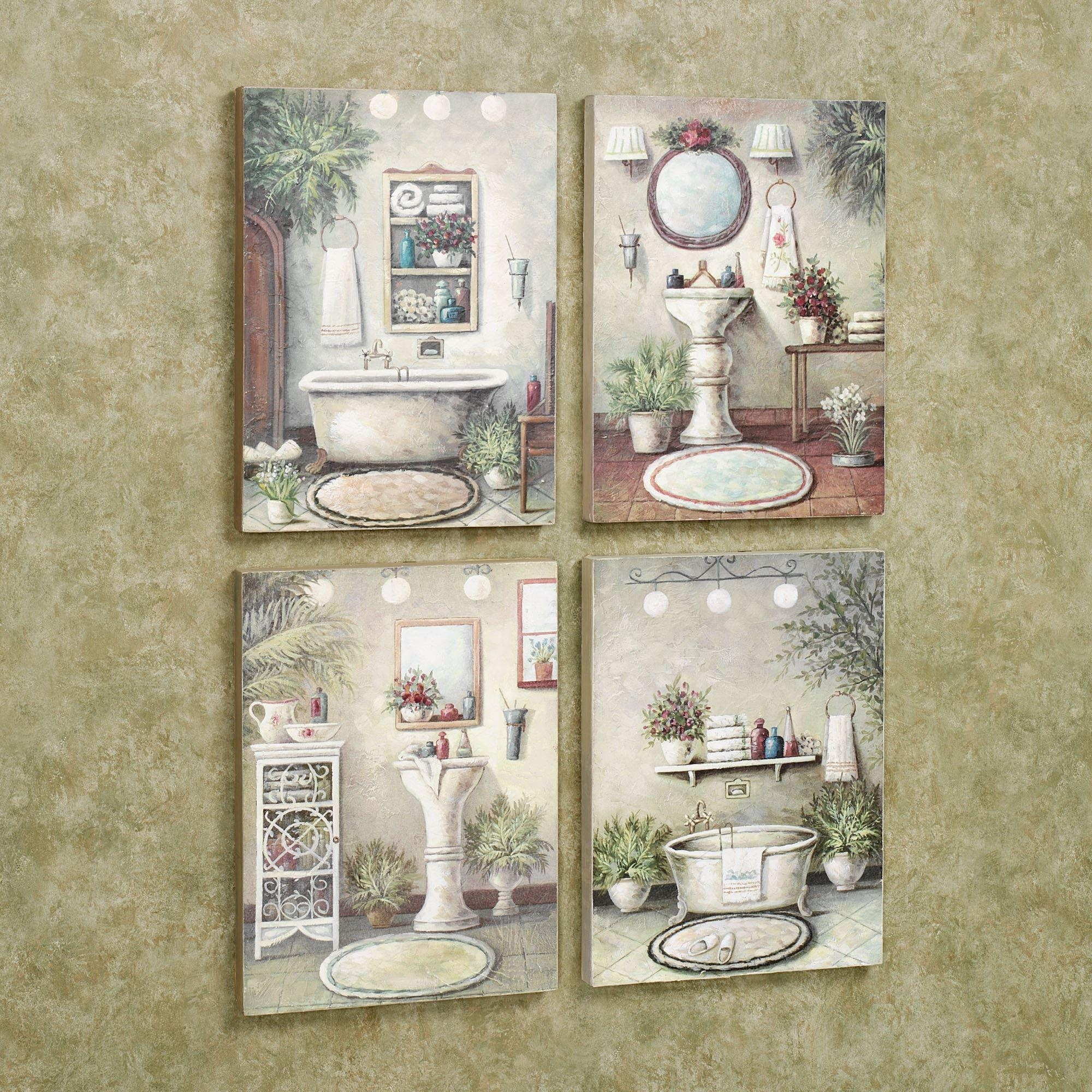 Bathroom Bliss Wooden Wall Art Plaque Set Throughout French Bathroom Wall  Art (Image 7 Of