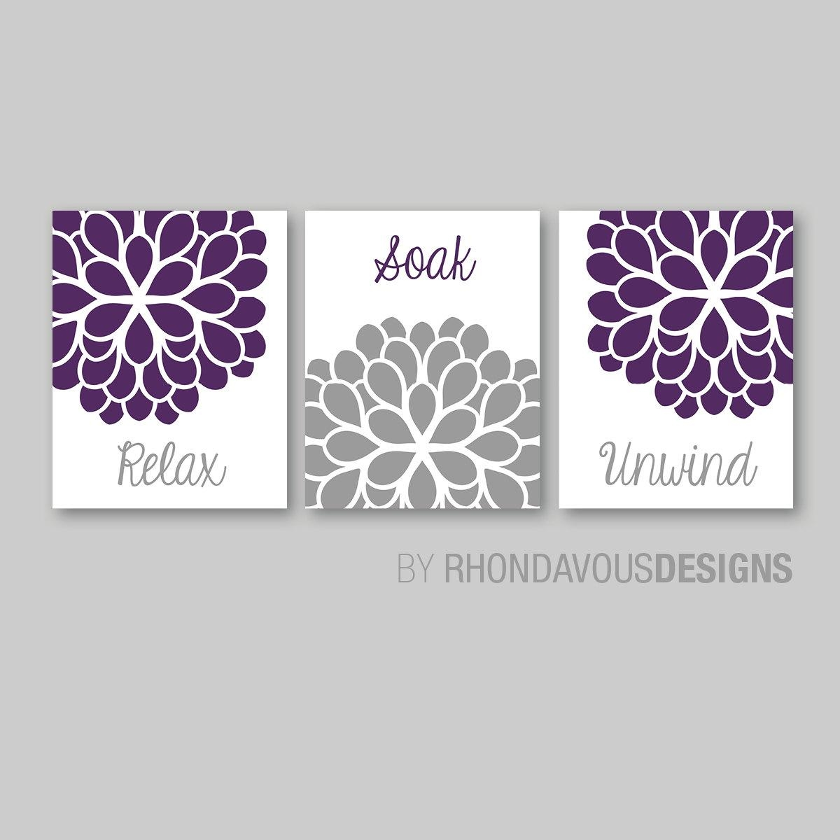 Bathroom Decor Bathroom Art Relax Soak Unwind Flower Pertaining To Purple Bathroom Wall Art (View 13 of 20)
