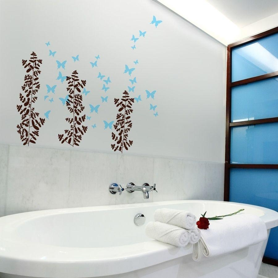 Bathroom : Delightful Bathroom Wall Art With Red Stickers Design Throughout Red Bathroom Wall Art (Image 7 of 20)