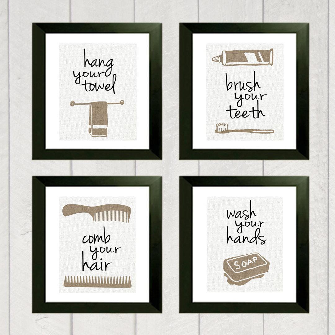 Bathroom Ideas: Bathroom Art Design With Four Canvas Vintage Inside Black And White Bathroom Wall Art (Image 4 of 20)