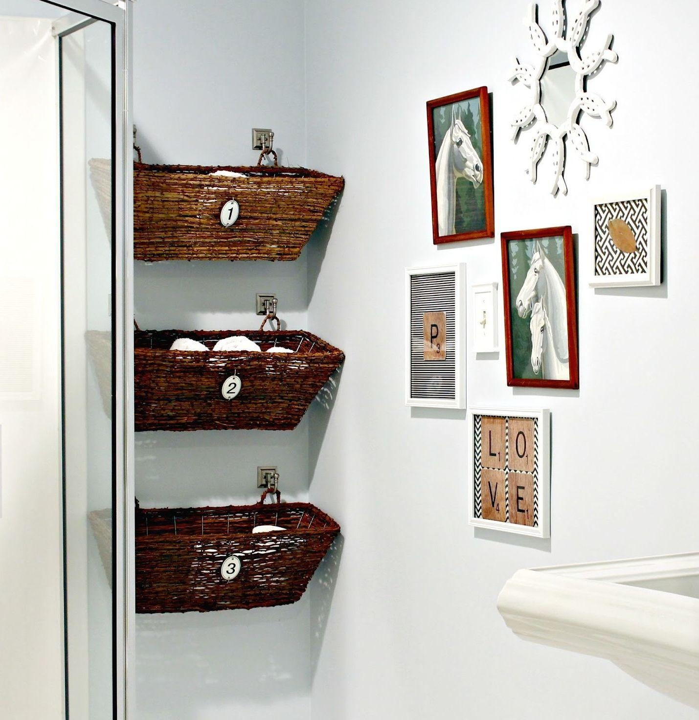 Bathroom Ideas: Small Framed Bathroom Wall Art Near Three Hanging Pertaining To Wall Art For The Bathroom (Image 3 of 20)