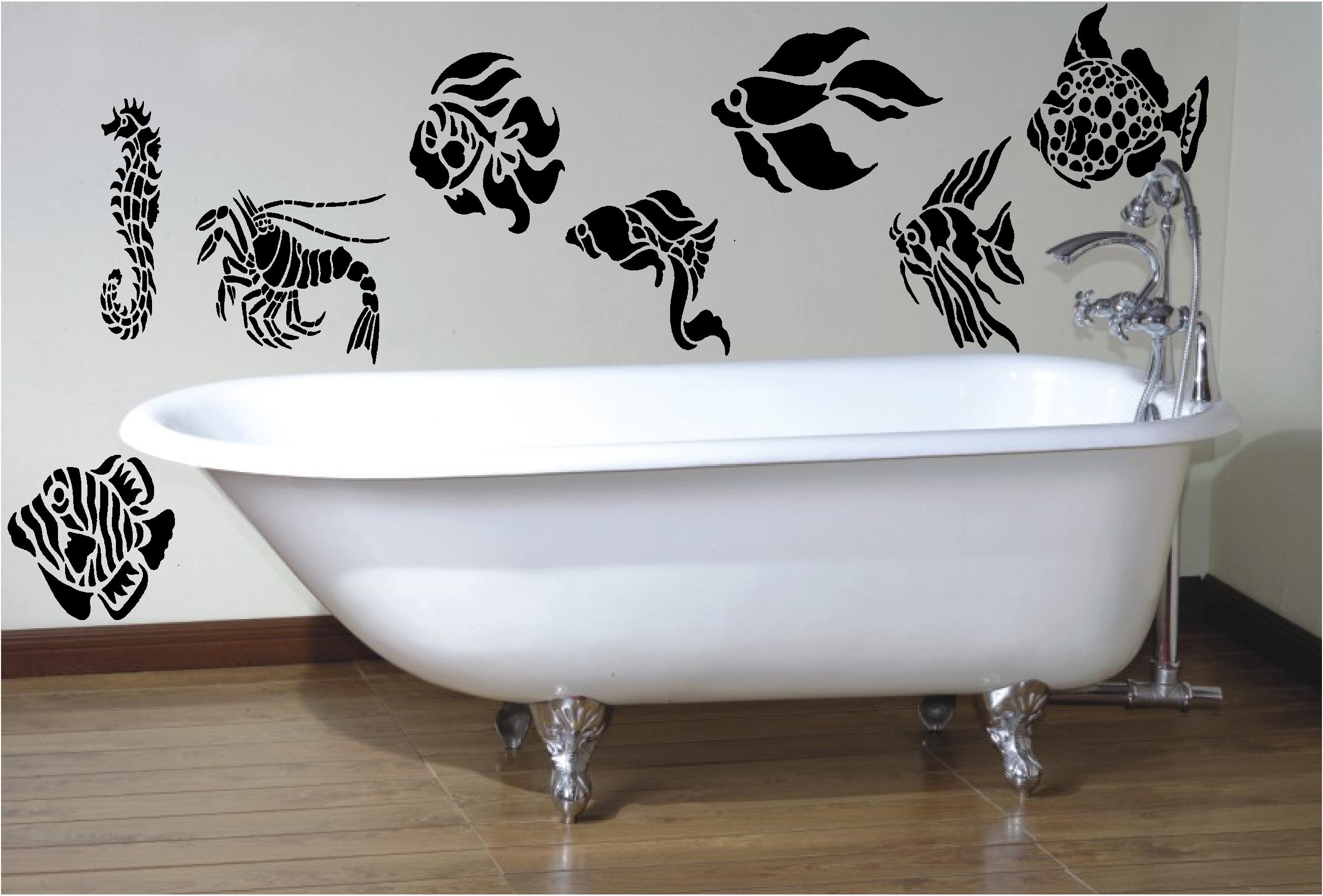 Bathroom : Sweet Bathroom Wall Art With Nice Stickers Decor Within Gray And White Wall Art (Image 2 of 20)