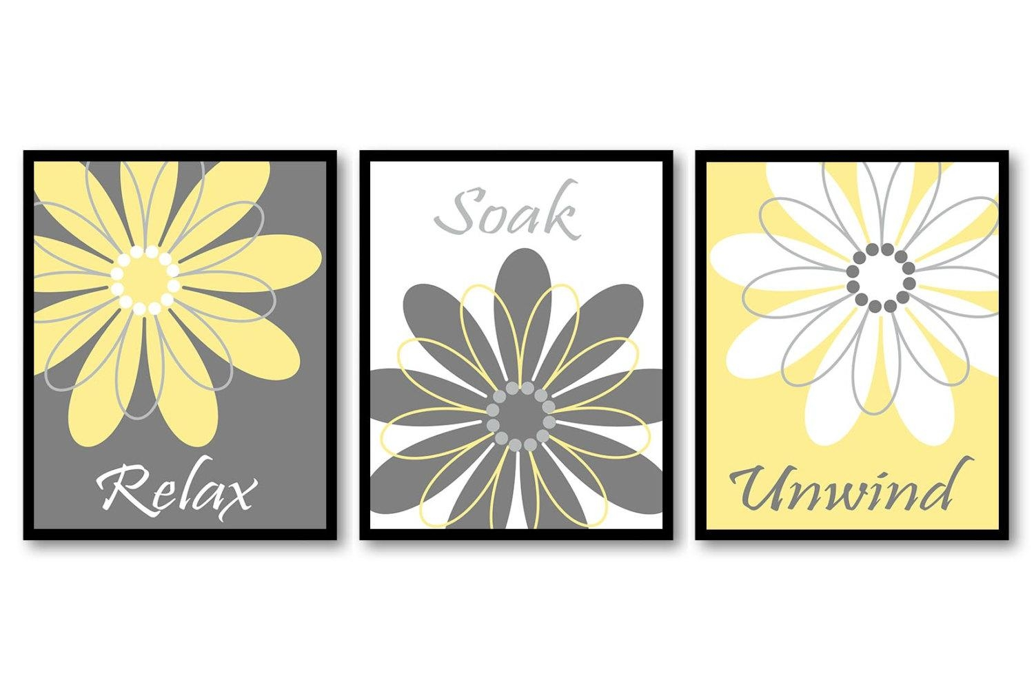 Bathroom Wall Art Yellow Grey Gray White Daisy Flower Print Regarding Gray And White Wall Art (Image 3 of 20)