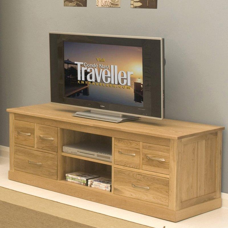 """Baumhaus Mobel Oak Tv Stand For Tvs Up To 62"""" & Reviews   Wayfair Inside Most Recent Oak Tv Cabinets With Doors (Image 1 of 20)"""