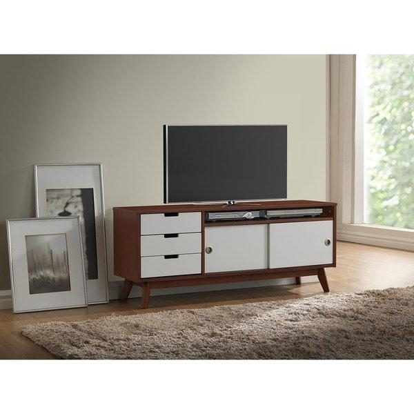 Baxton Studio Alphard Mid Century Dark Walnut And White Two Tone Intended For Most Recently Released Walnut Tv Cabinet (Image 2 of 20)