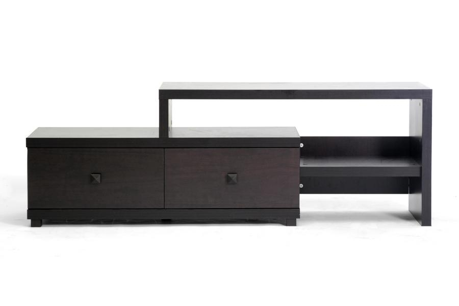 Baxton Studio Blythe Modern Asymmetrical Tv Stand With Current Contemporary Wood Tv Stands (Image 3 of 20)