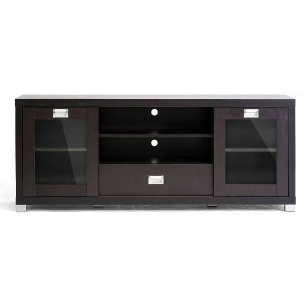 Baxton Studio 'matlock' Modern Glass Door Dark Brown Tv Stand With Recent Black Tv Stand With Glass Doors (Image 1 of 20)