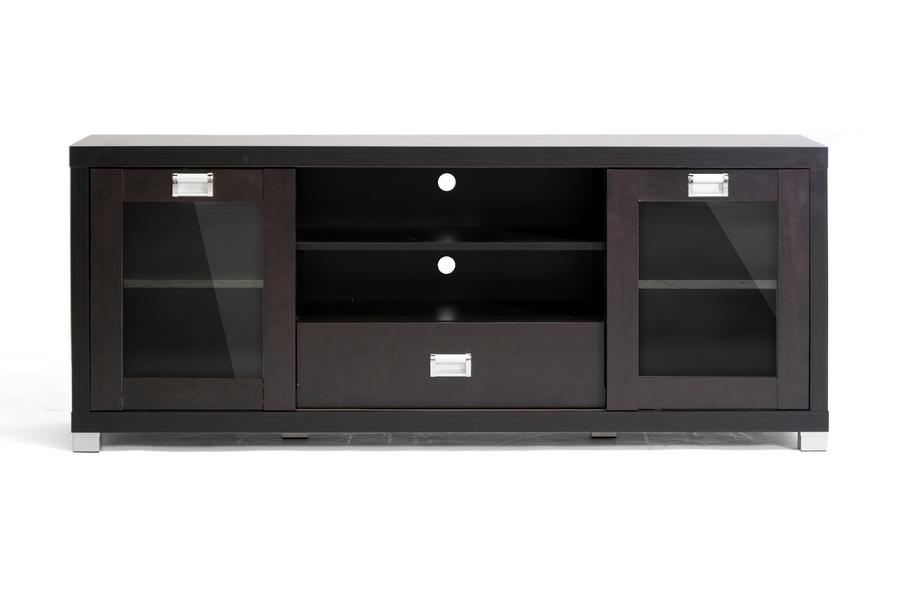 Baxton Studio Matlock Modern Tv Stand W/ Glass Doors Intended For Most Recently Released Black Tv Stand With Glass Doors (Image 2 of 20)