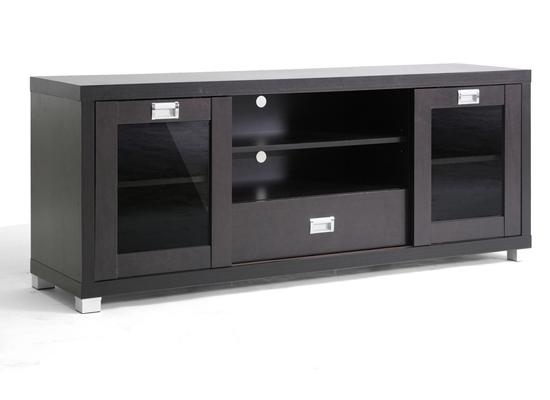 Baxton Studio Modern Tv Stands For 2017 Black Tv Stand With Glass Doors (Image 3 of 20)