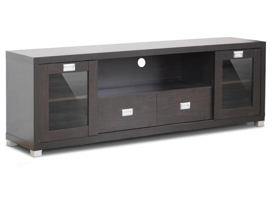 Baxton Studio Modern Tv Stands Pertaining To Best And Newest Wooden Tv Stands With Glass Doors (View 7 of 20)