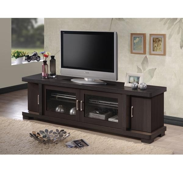 Baxton Studio Vega Contemporary 70 Inch Dark Brown Wood Tv Cabinet Throughout Latest Wooden Tv Cabinets With Glass Doors (View 4 of 20)