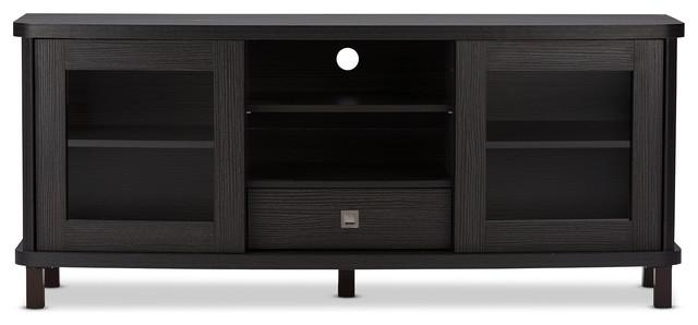 Baxton Studio Walda Tv Cabinet – Contemporary – Entertainment Throughout Most Recent Black Tv Cabinets With Drawers (Image 7 of 20)