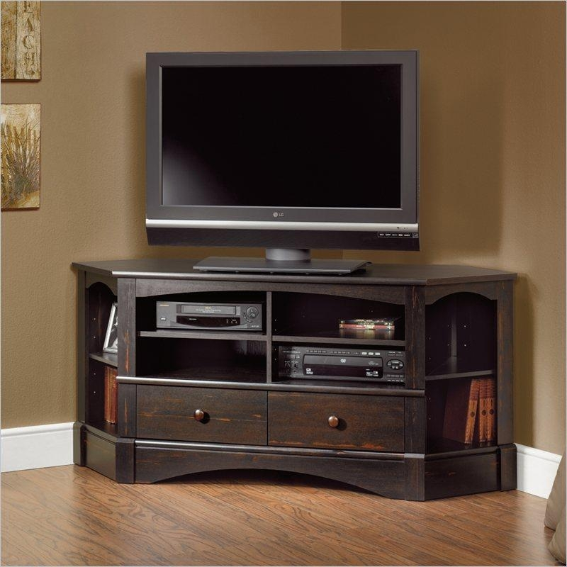 Bay View Corner Tv Stand In Antiqued Black | Bargainmaxx Regarding Best And Newest Corner Tv Stands With Drawers (View 4 of 20)