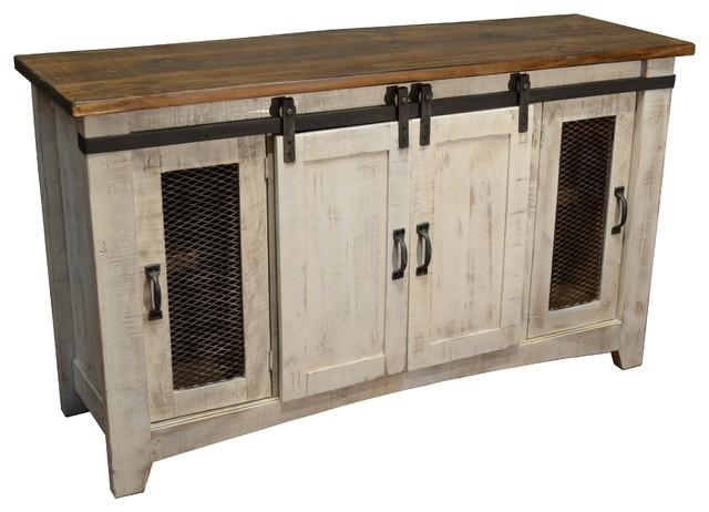 Bayshore Media Stand, White – Farmhouse – Buffets And Sideboards Intended For 2017 White Rustic Tv Stands (View 9 of 20)