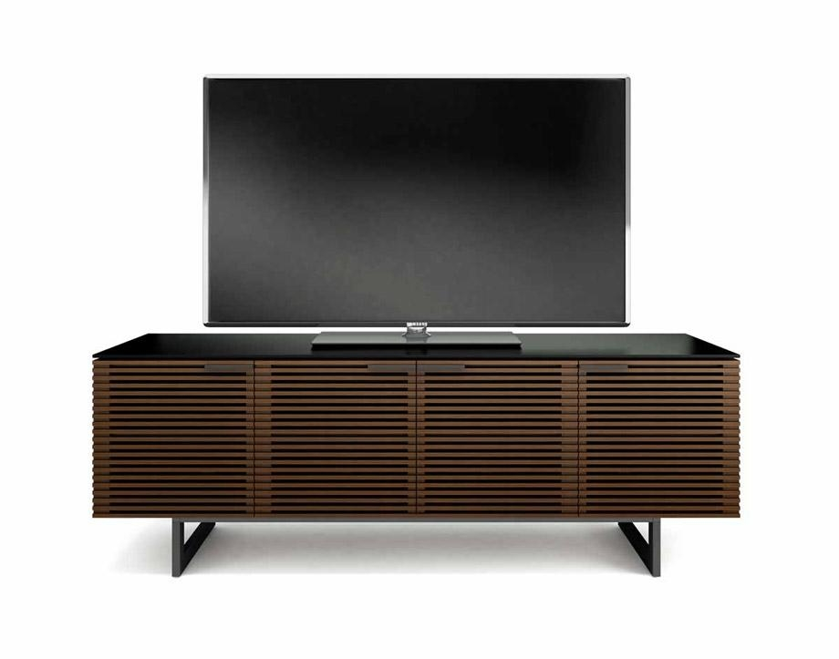Bdi Corridor 8179 Chocolate / Walnut Louvered Tv Cabinet – Bdi Within Most Popular Walnut Tv Cabinet (Image 3 of 20)