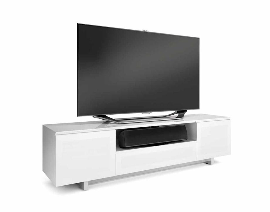Bdi Nora 8239 S Gloss White Slim Tv Cabinet – Bdi – Audiovisual Intended For Most Up To Date Slim Line Tv Stands (Image 3 of 20)