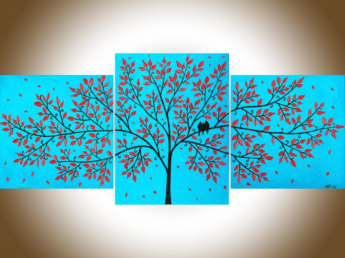 """Beautiful Lifeqiqigallery 36""""x16"""" Original Tree And Love Birds Intended For Teal And Black Wall Art (Image 1 of 20)"""