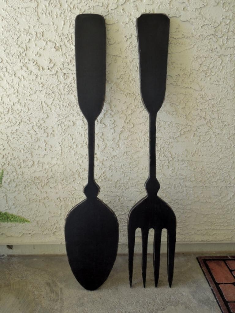 Beautiful Silver Fork Spoon Wall Decor Oversized Decorative Fork With Plastic Spoon Wall Art (View 17 of 20)
