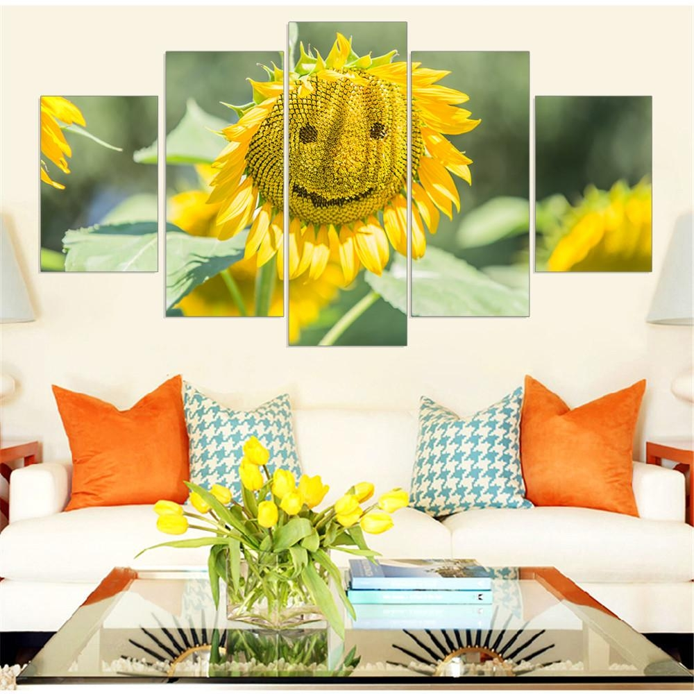 Beautiful Tuscan Sunflower Wall Art Yellow Gray Wall Art Sunflower With Regard To Metal Sunflower Wall Art (Image 3 of 20)