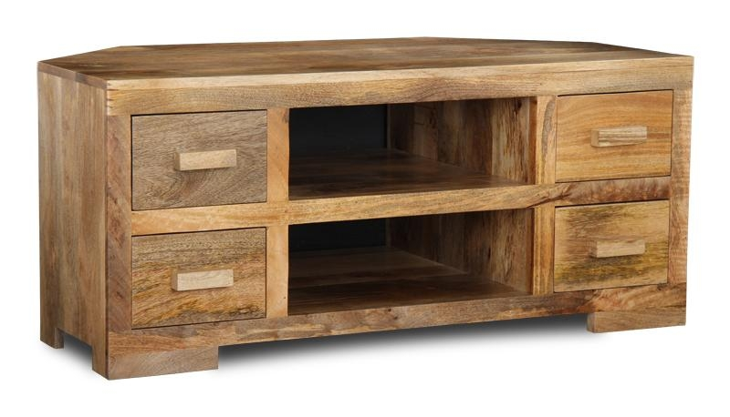 Beautiful Wooden Corner Tv Unit Mango Light Corner Tv Unit Trade Within 2018 Mango Tv Units (Image 3 of 20)