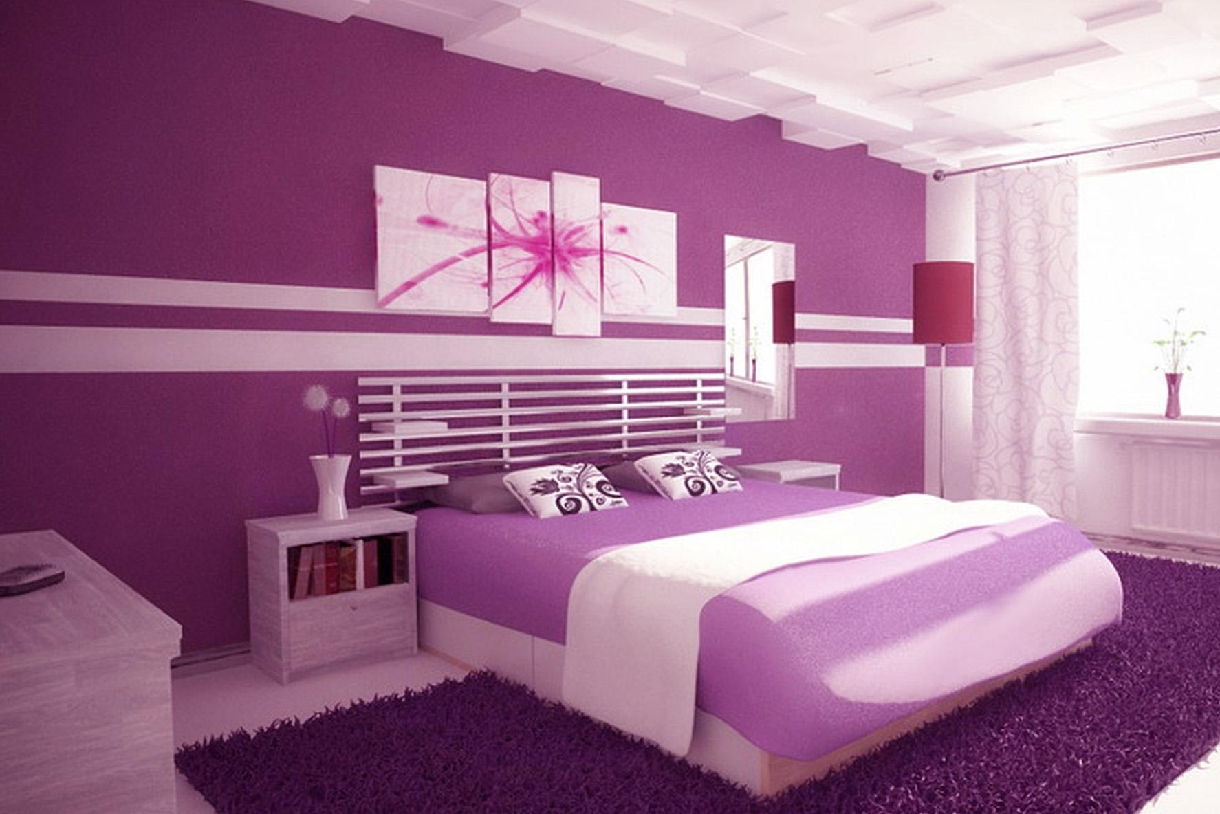 Bedroom : Light Purple Wall Paint Purple Colour Bedroom What Color For Purple Wall Art For Bedroom (Image 1 of 20)