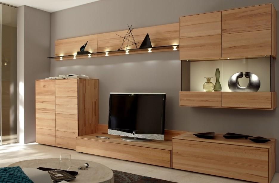 Bedroom Modern Living Room Idea With Brown Wooden Wall Storage And Pertaining To Most Recent Tv Units With Storage (Image 2 of 20)
