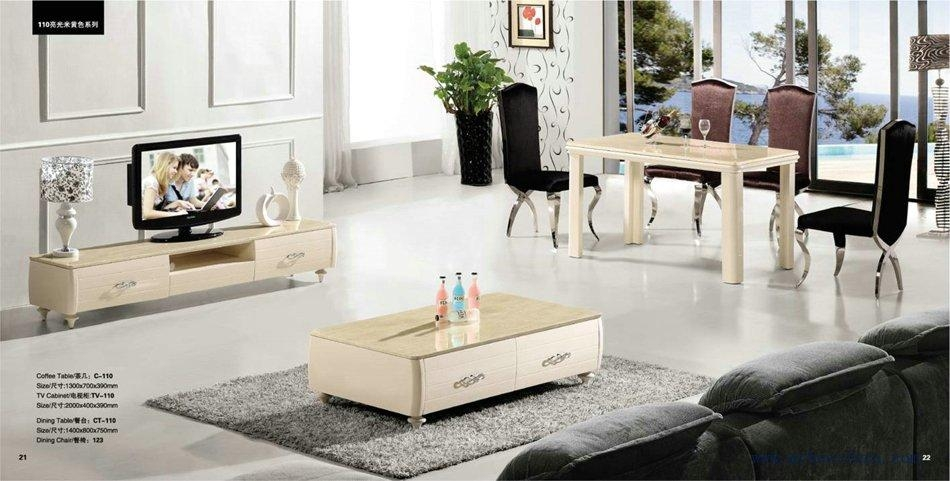 Beige Color Coffee Table+Tv Stand+Dinning Table Set, Free Shippi Inside Newest Tv Cabinet And Coffee Table Sets (Image 5 of 20)