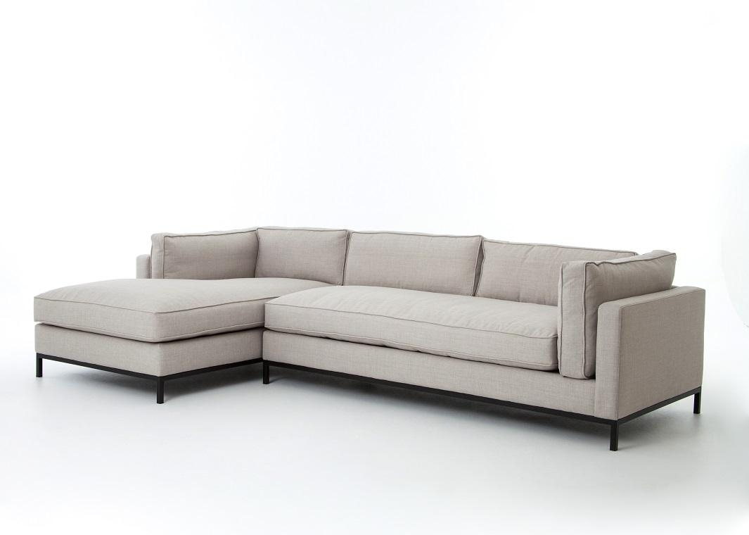 Beige Linen Sofa With Chaise Lounge Within Sofas With Chaise Longue (Image 3 of 20)