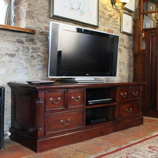 Belarus Widescreen Tv Stand In Mahogany With Drawers And With Regard To Best And Newest Widescreen Tv Stands (View 11 of 20)