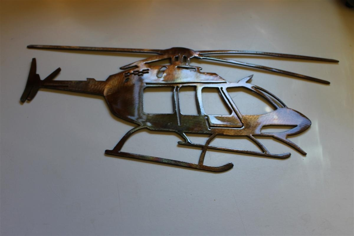 Bell Helicopter Metal Wall Art Decor Pertaining To Metal Airplane Wall Art (Image 3 of 20)