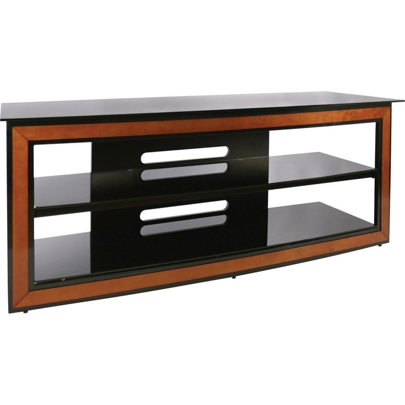"Bello Avsc2126 62"" Contemporary Flat Panel Glass Tv Stand In Black Pertaining To Latest Contemporary Glass Tv Stands (View 15 of 20)"