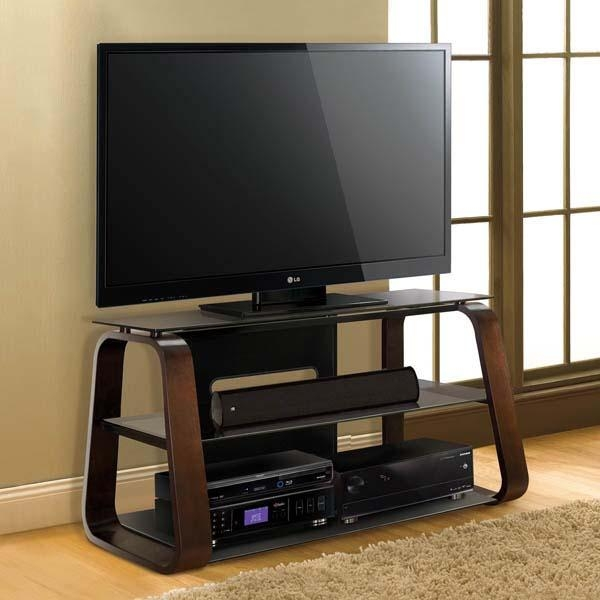 Bello Curved Wood 55 Inch Tv Stand With Tinted Glass Deep Espresso Throughout Best And Newest Wooden Tv Stands For 55 Inch Flat Screen (Image 2 of 20)