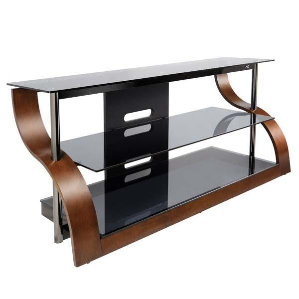 Bello Curved Wood And Black Glass Tv Stand For 32 55 Inch Screens Pertaining To Recent Black Glass Tv Stands (View 16 of 20)